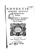 Advertissemens receus de Vienne en Austriche : touchant l'election de Monseigneur le Duc d'Anjou pour estre Roy de Pologne  1573
