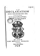 La declaration des seigneurs de Pologne sur le retour du Roy en France  N. Du Mont. 1574