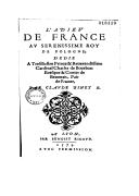 L'adieu de France au Serenissime Roy de Pologne  C. Binet. 1573
