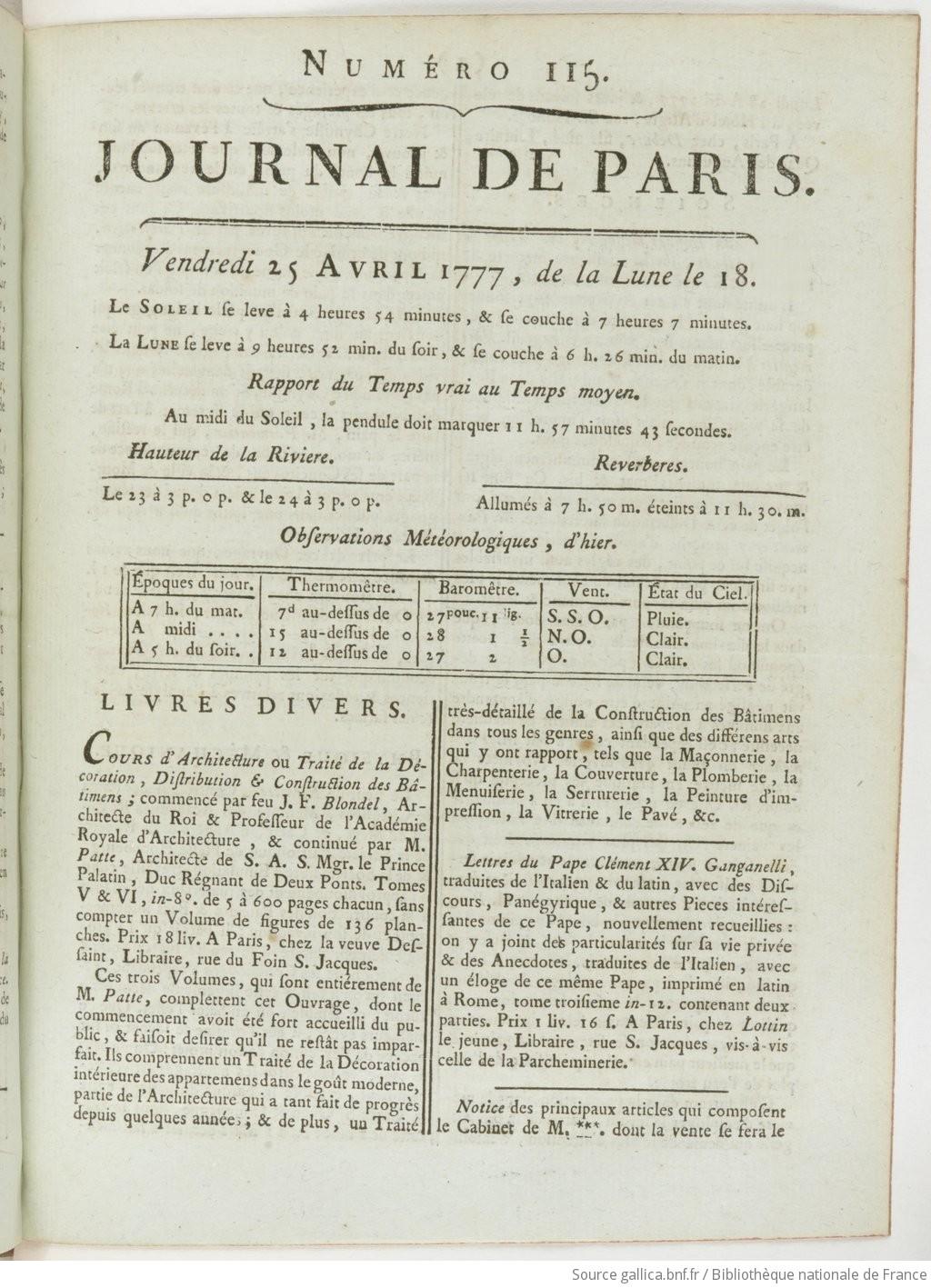 Hauteur Ciel De Pluie journal de paris   1777-04-25   gallica