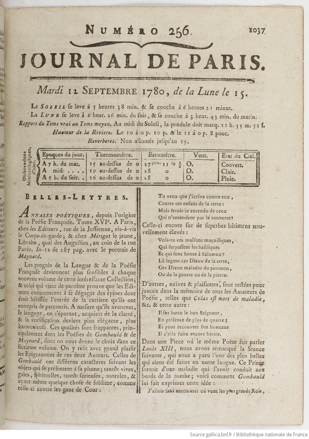 Hauteur Ciel De Pluie journal de paris   1780-09-12   gallica