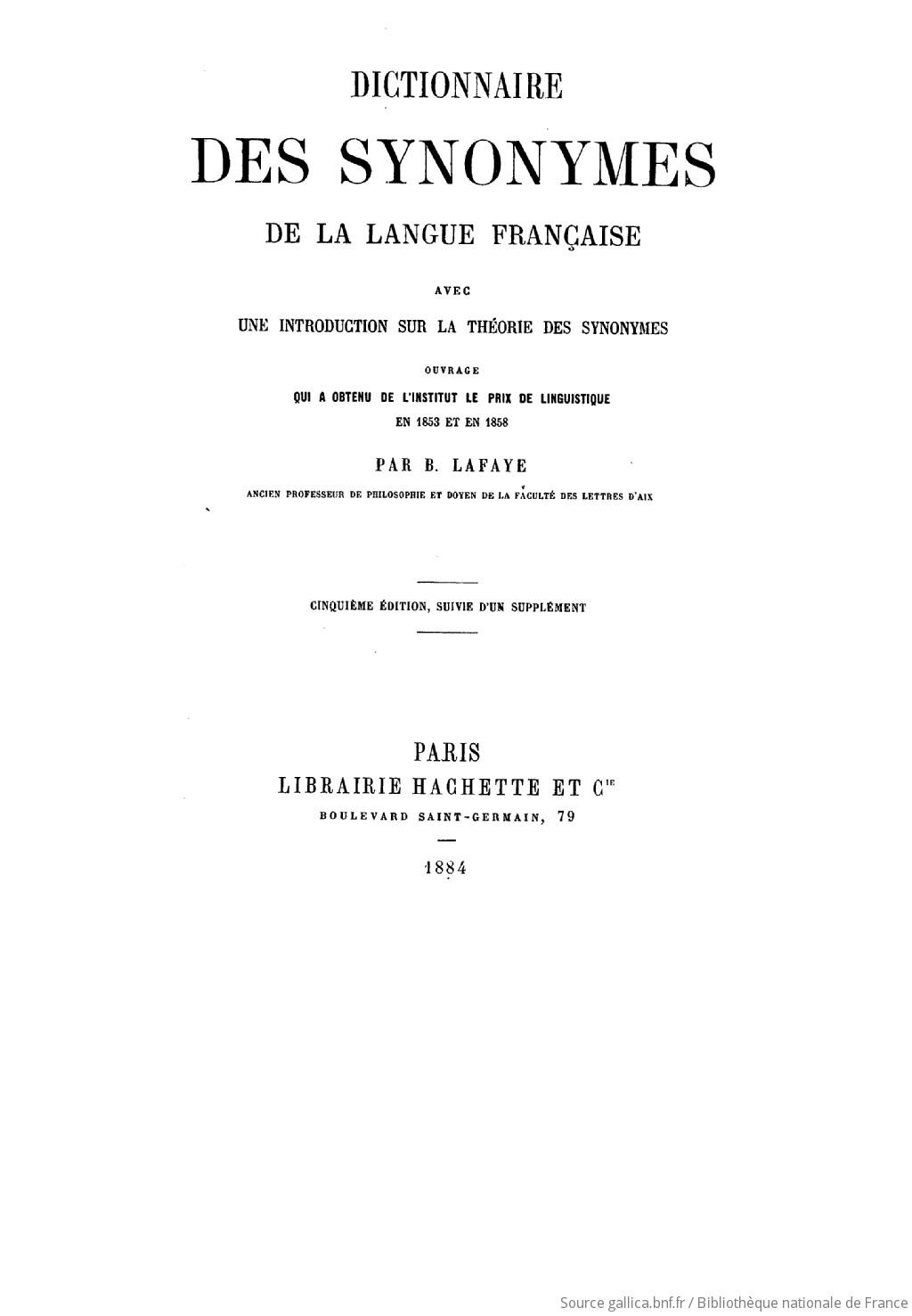 Dictionnaire Des Synonymes De La Langue Francaise Avec Une