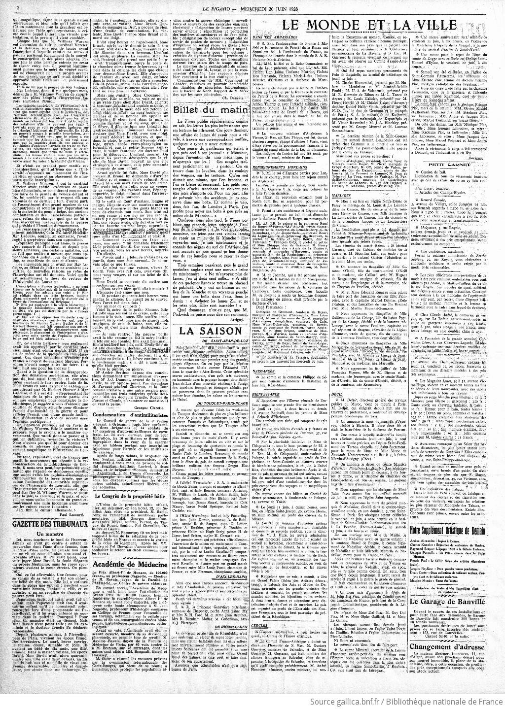 Figaro : journal non politique | 1928-06-20 | Gallica