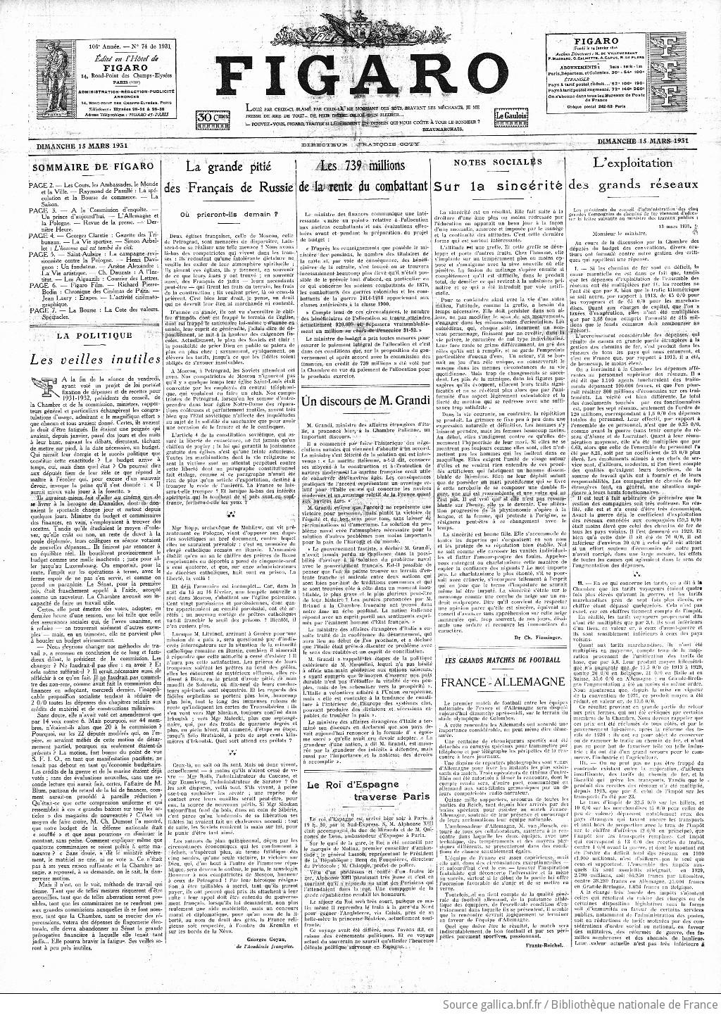 f796cd2681dd4 Figaro   journal non politique   1931-03-15   Gallica