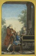 Illustration de la page Leopold Mozart, Pere de Marianne Mozart, virtuose âgée de onze ans et de J. G. Wolfgang Mozart, Compositeur et Maitre de Musique, âgé de sept ans provenant de Wikipedia