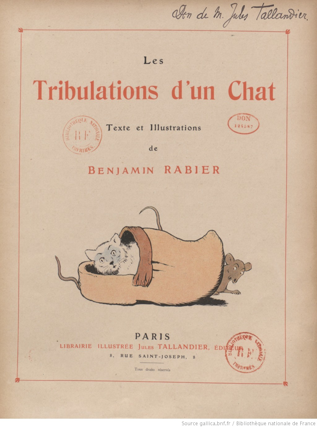 Les Tribulations d'un chat, texte et illustrations de Benjamin Rabier