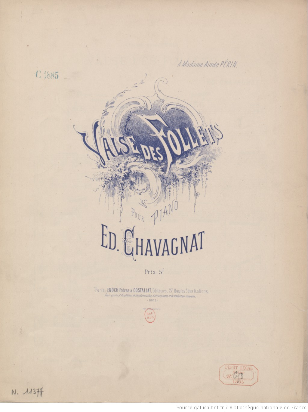 Valse des follets : pour piano / Ed. Chavagnat ; [orn. par] L. Denis
