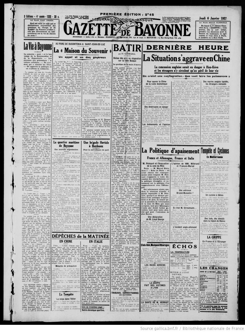 Basque 01 Gallica De Gazette 1927 06 Du Pays Et Bayonne Biarritz qYxdwvxU8