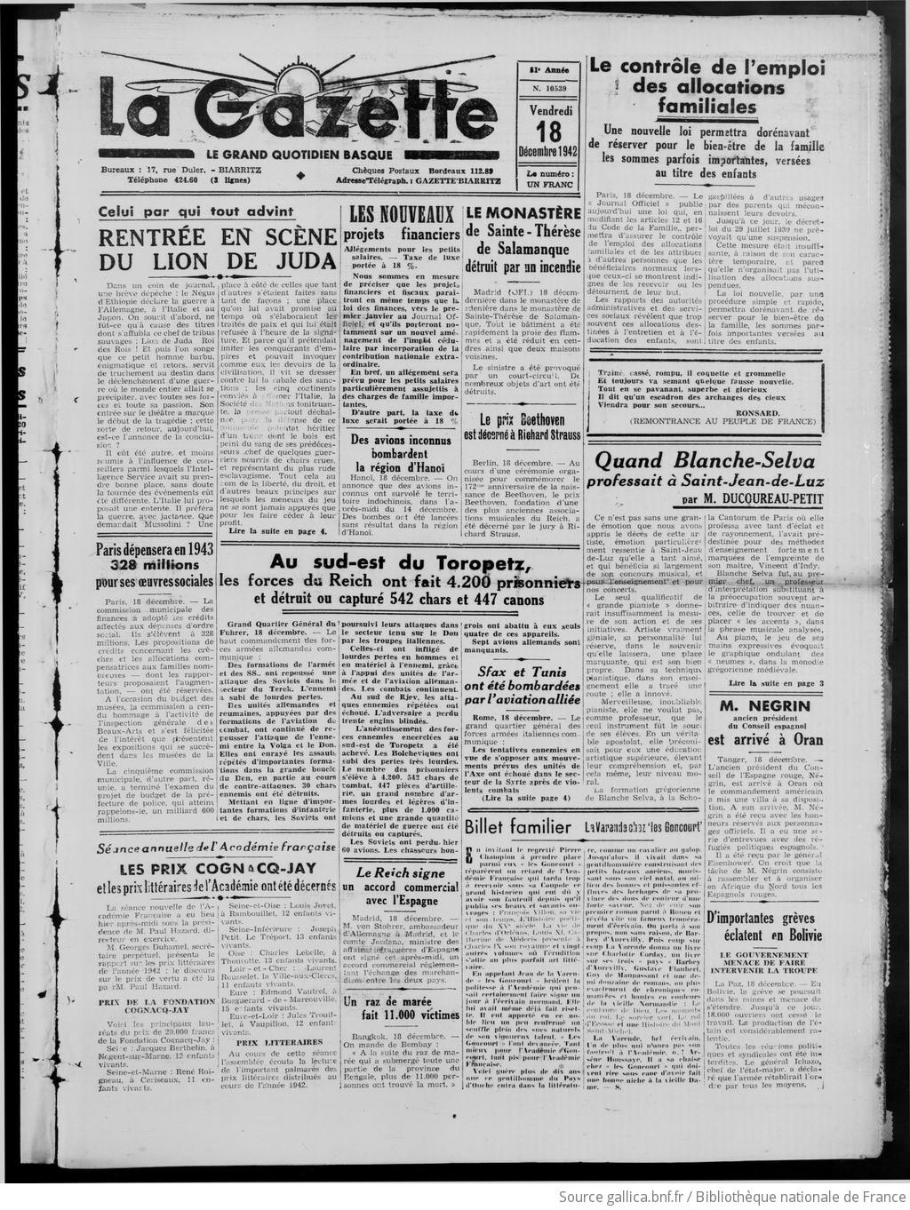 Et BayonneBiarritz Pays 18 Gazette Basque1942 Du Gallica De 12 CBerxdo