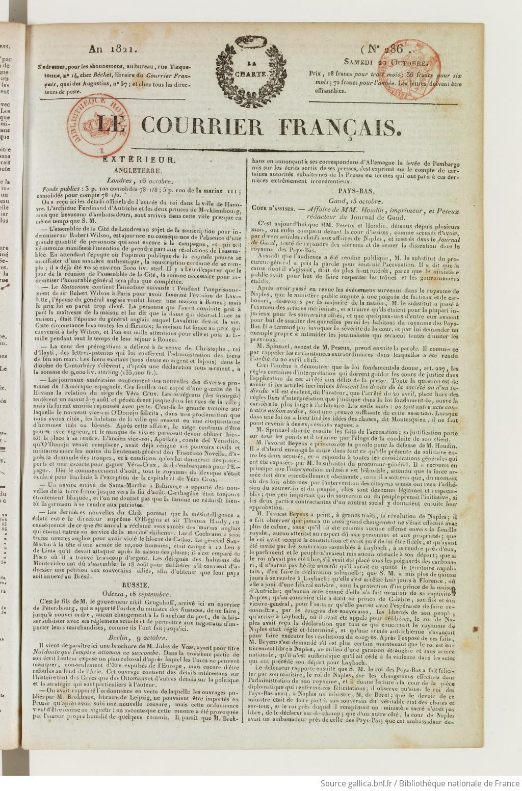 Le Courrier 1821 10 20 Gallica