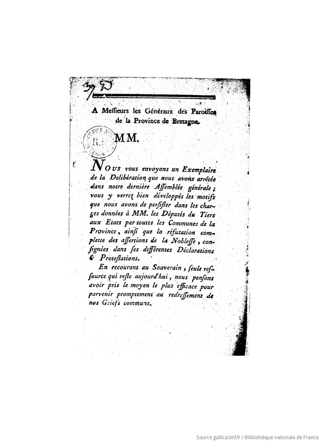 Extrait du registre commun des délibérations des dix paroisses de la ville de Rennes : du 19 janvier 1789 ([Reprod.]) | Eglise catholique