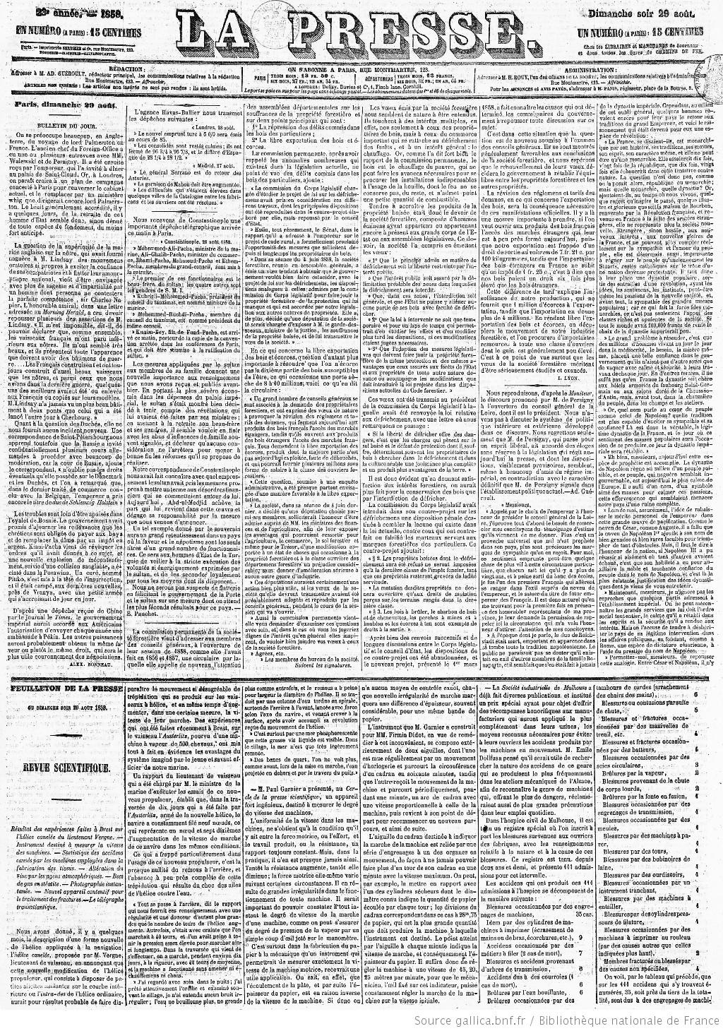 La Presse | 1858-08-29 | Gallica