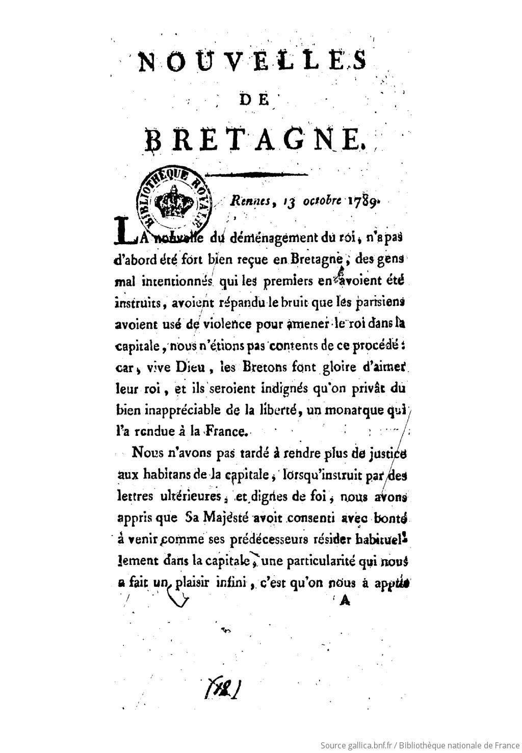 Nouvelles de Bretagne ([Reprod.]) |