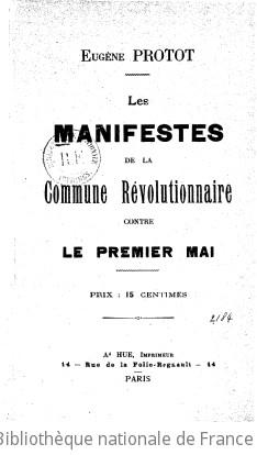 Les Manifestes de la commune révolutionnaire contre le premier mai