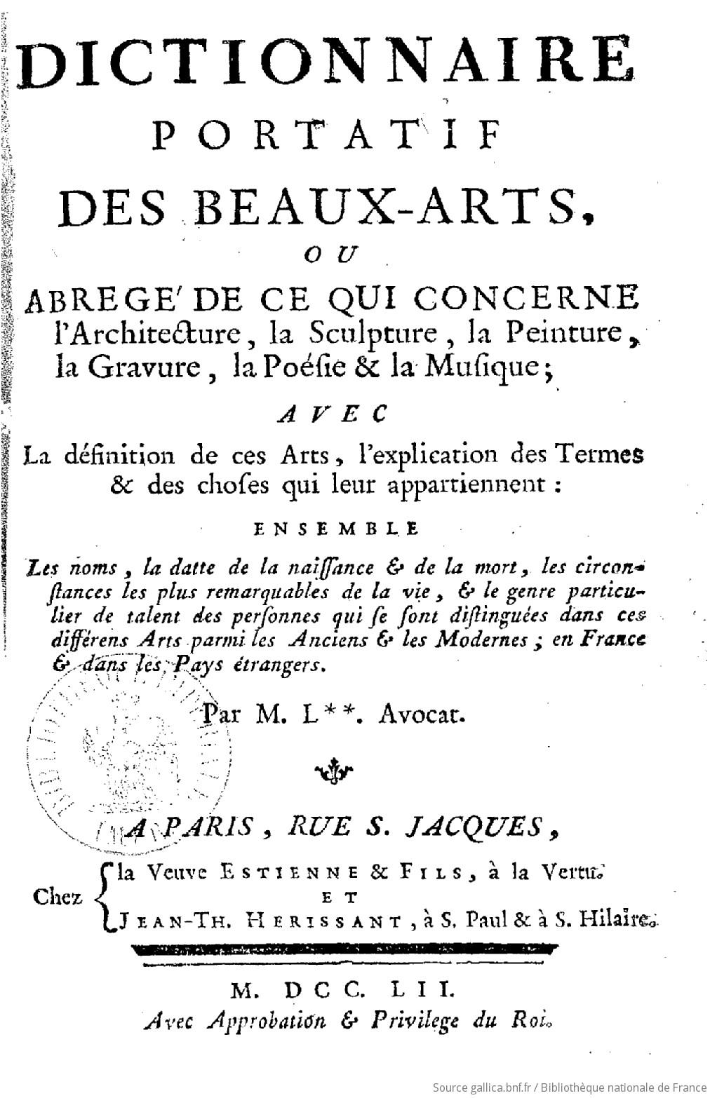 Dictionnaire portatif des beaux arts ou abr g de ce qui for Dictionnaire architecture