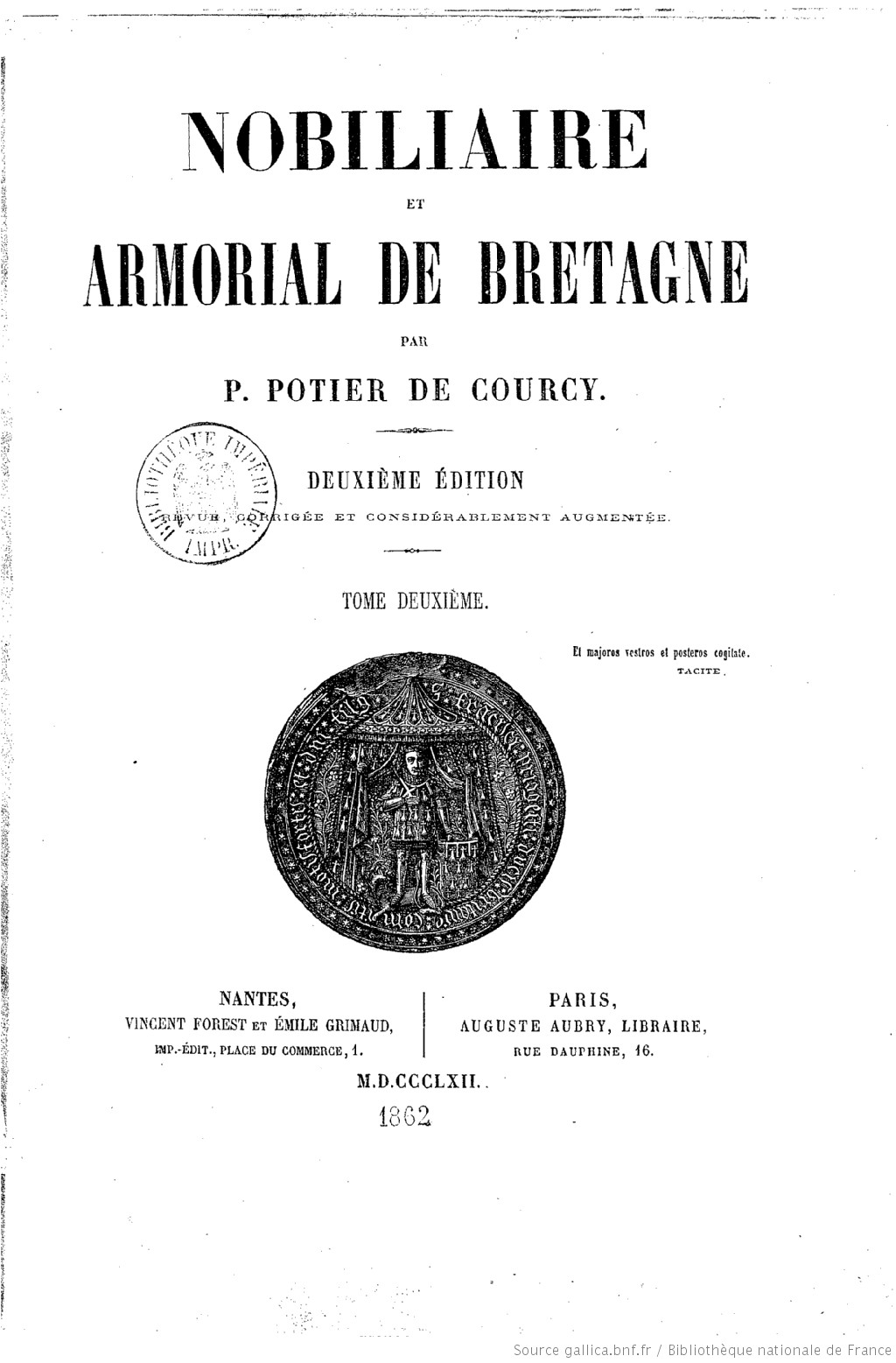 Nobiliaire et armorial de Bretagne. Edition 2,Tome 2 / par P. Potier de Courcy | Potier de Courcy Pol