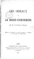 Les Oiseaux de la Basse-Cochinchine  G. Tirant. 1878