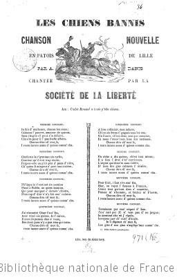 leschiens bannis : chanson nouvelle en patois de Lille... / par Danis
