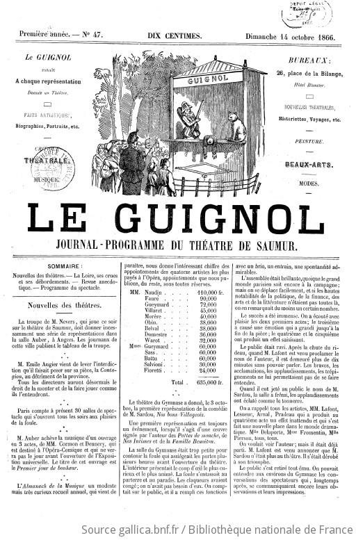 """Le Guignol : journal-programme [""""puis"""" petite gazette hebdomadaire] du Théâtre de Saumur : [""""puis"""" biographies, portraits, etc., critique théâtrale, musique, historiettes, voyages, etc., peinture, beaux-arts]"""