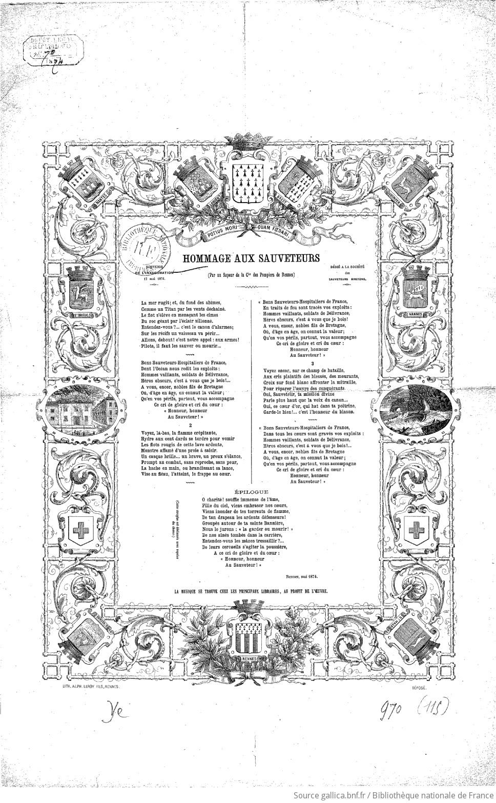 Hommage aux sauveteurs par un sapeur de la compagnie des pompiers de Rennes. Souvenir de l'inauguration, 17 mai 1874 |