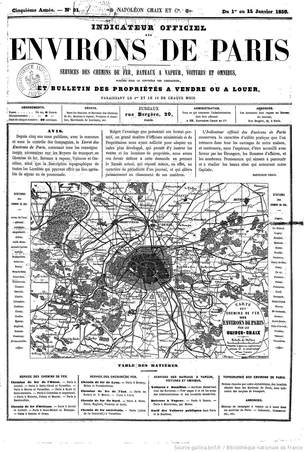 Indicateur Officiel Des Environs De Paris Services Des Chemins De