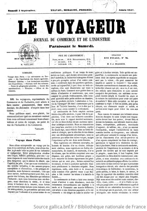 Le Voyageur Journal Du Commerce Et De L Industrie Administration M Vaillant Redaction M U J Brasseur 1857 09 05 Gallica