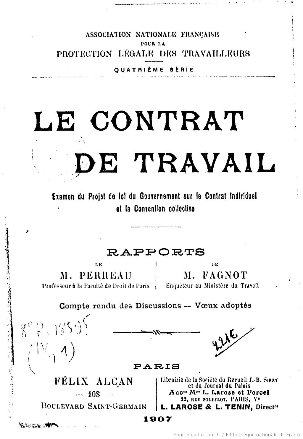 Le contrat de travail : examen du projet de loi du gouvernement