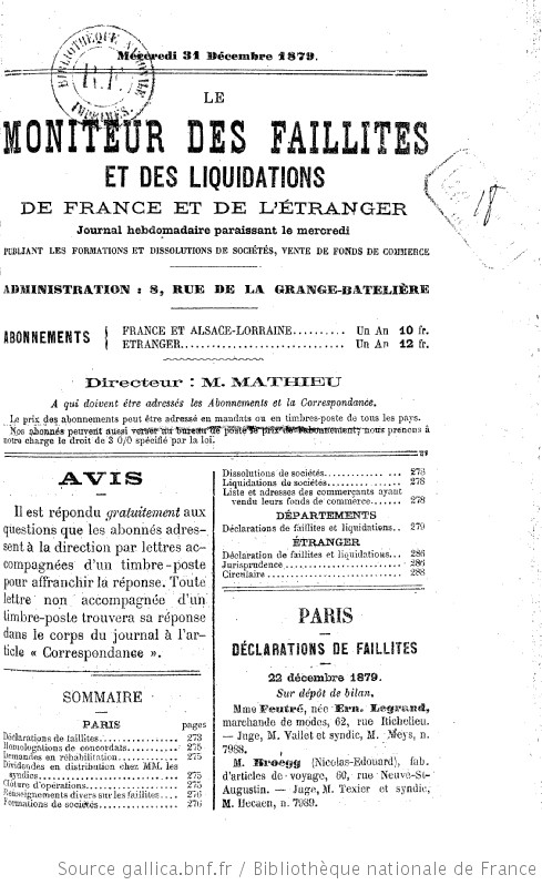 Le Moniteur Des Faillites Et Des Liquidations De France Et De L