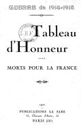 Guerre de 1914-1918. Tableau d