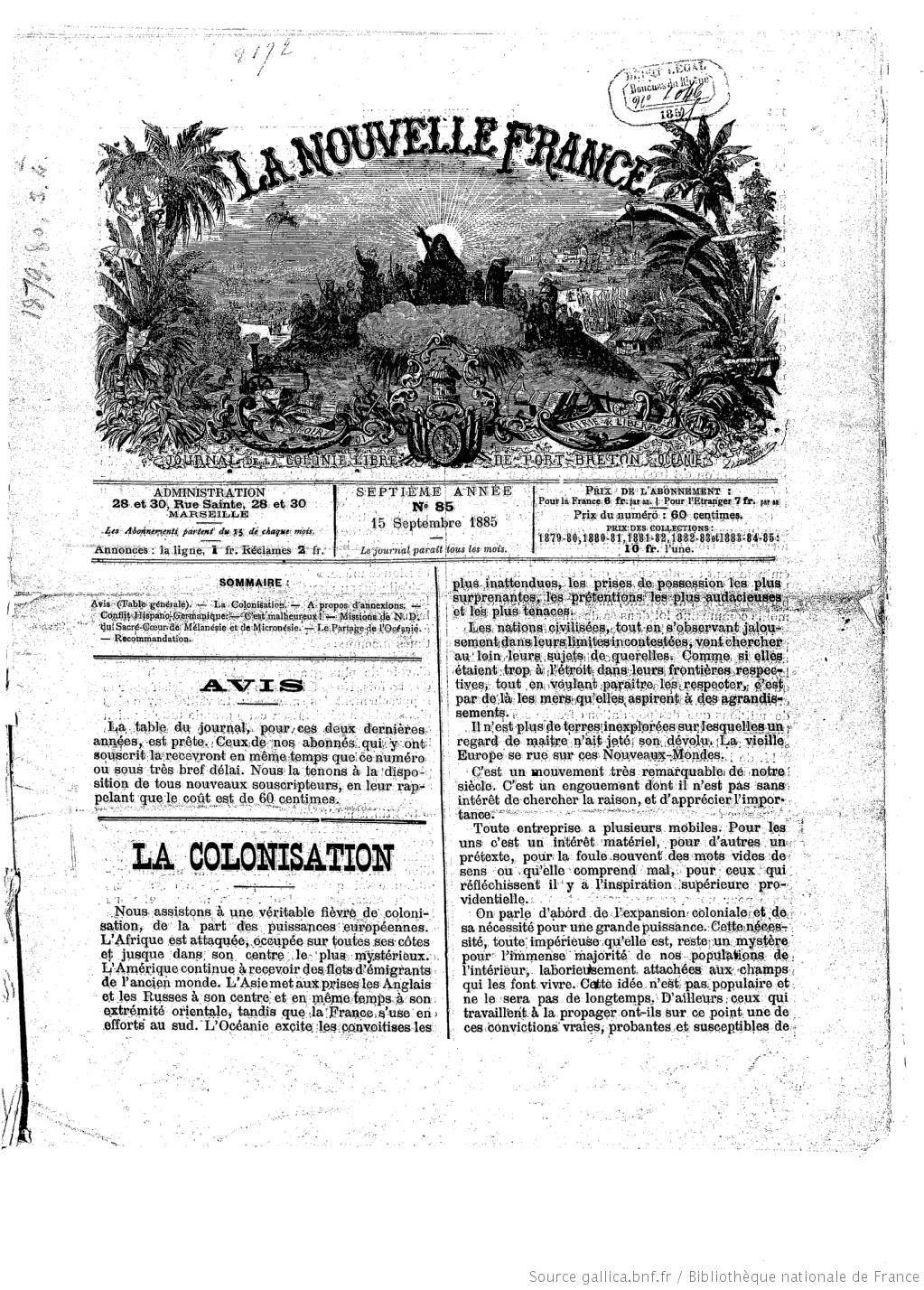 La Nouvelle France Journal De La Colonie Libre De Port Breton Oceanie 1885 09 15 Gallica