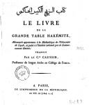 Le livre de la grande table hakémite, manuscrit appartenant à la bibliothèque de l'Université de Leyde  A. H. A. ibn Abd Al Rahman (dit Ibn Younous). 1804