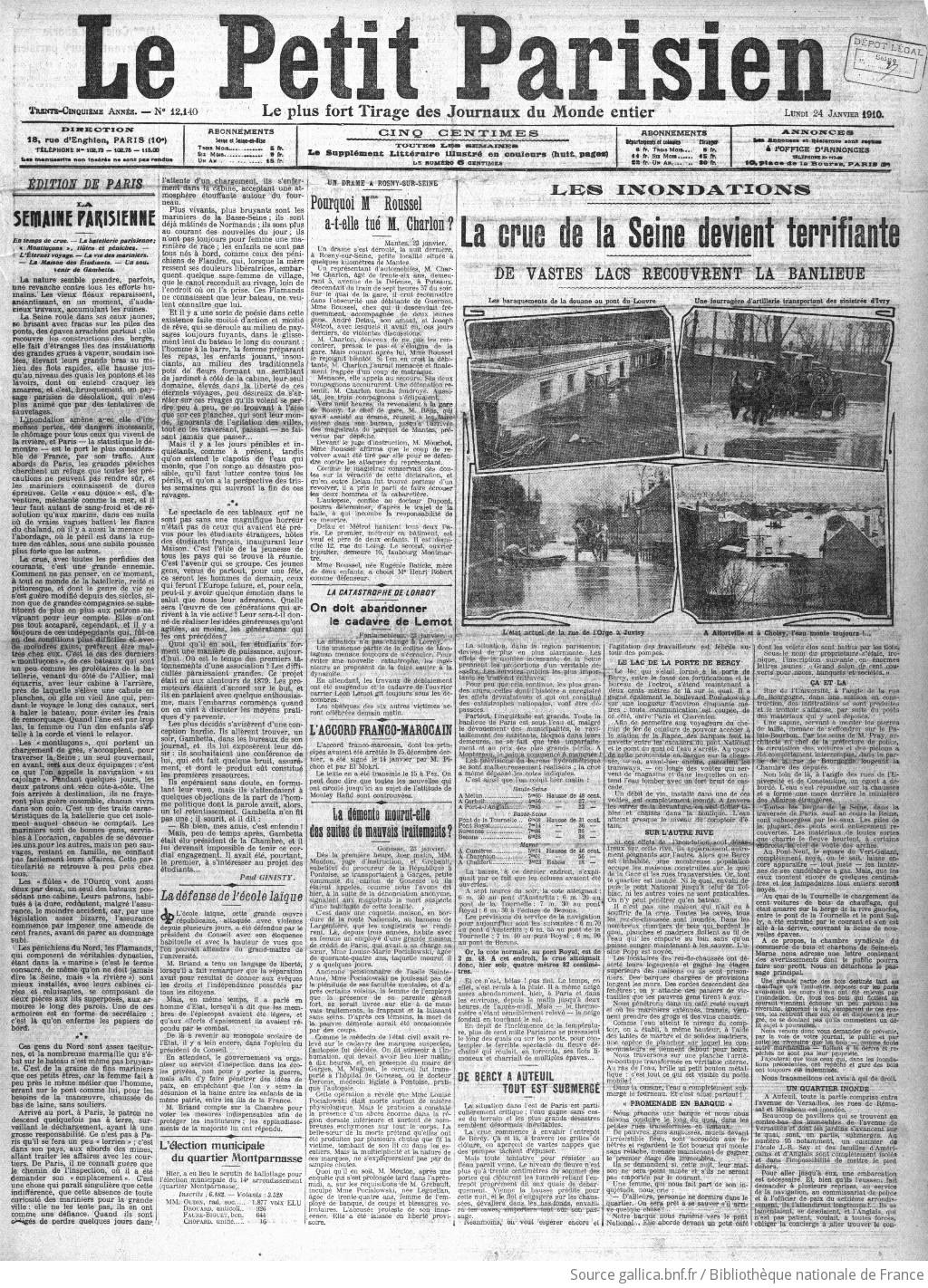 Le Petit Parisien : journal quotidien du soir | 1910-01-24 | Gallica