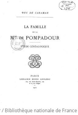 Famille de la Mise de Pompadour, étude généalogique
