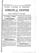 Achats et ventes. Bulletin d'affaires bi-mensuel. 1927