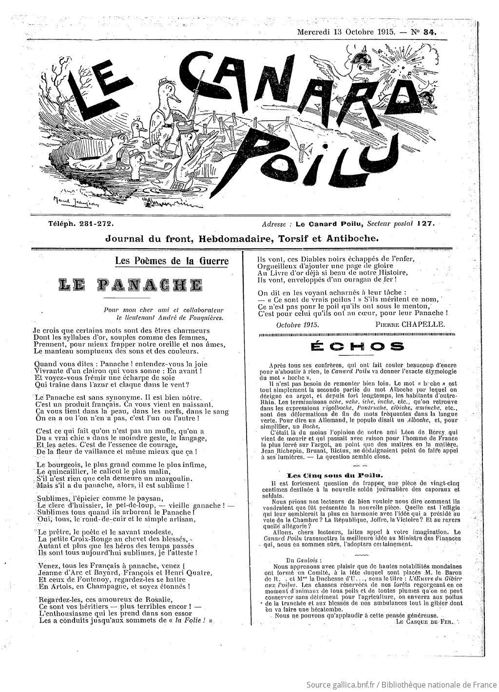 Le Canard Poilu Journal Du Front Hebdomadaire Torsif Et Antiboche