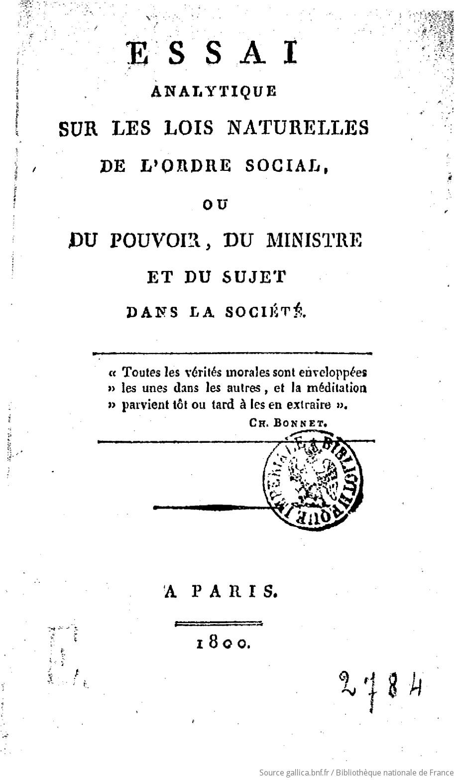 Essai analytique sur les lois naturelles de lordre social (French Edition)