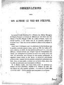 Observations pour Son Altesse le vice-roi d'Égypte <br> Signé Draneth Bey,  Ad. Crémieux, Jules Favre, 16 mars 1862