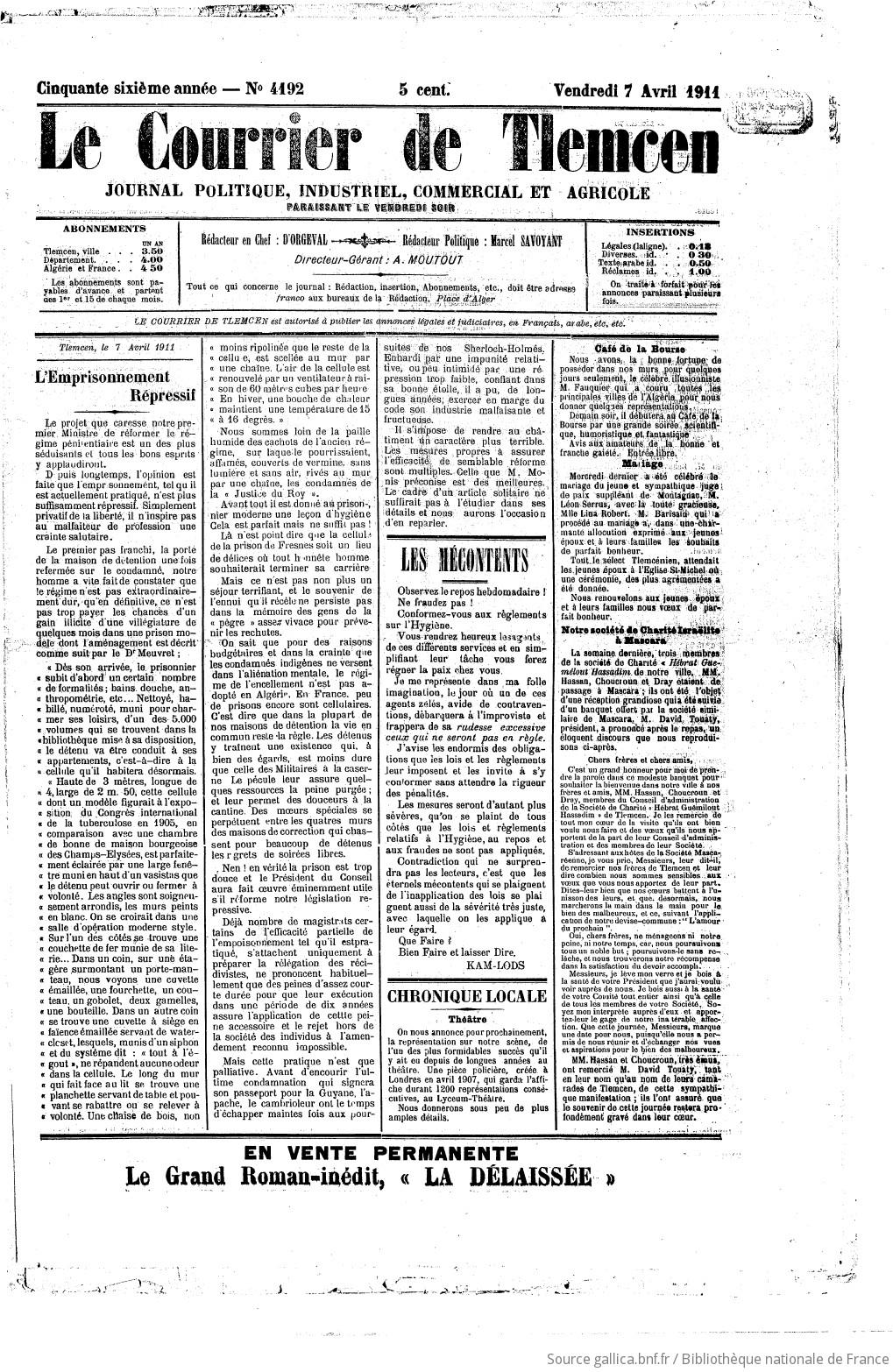Salle De Bain Pierre Travertin ~ Courrier De Tlemcen 1911 04 07 Gallica