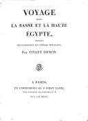 Voyage dans la Basse et la Haute Égypte, pendant les campagnes du général Bonaparte  D. Denon. 1803