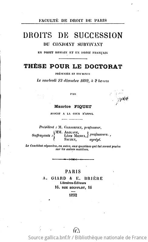 Droits De Succession Du Conjoint Survivant En Droit Romain Et En