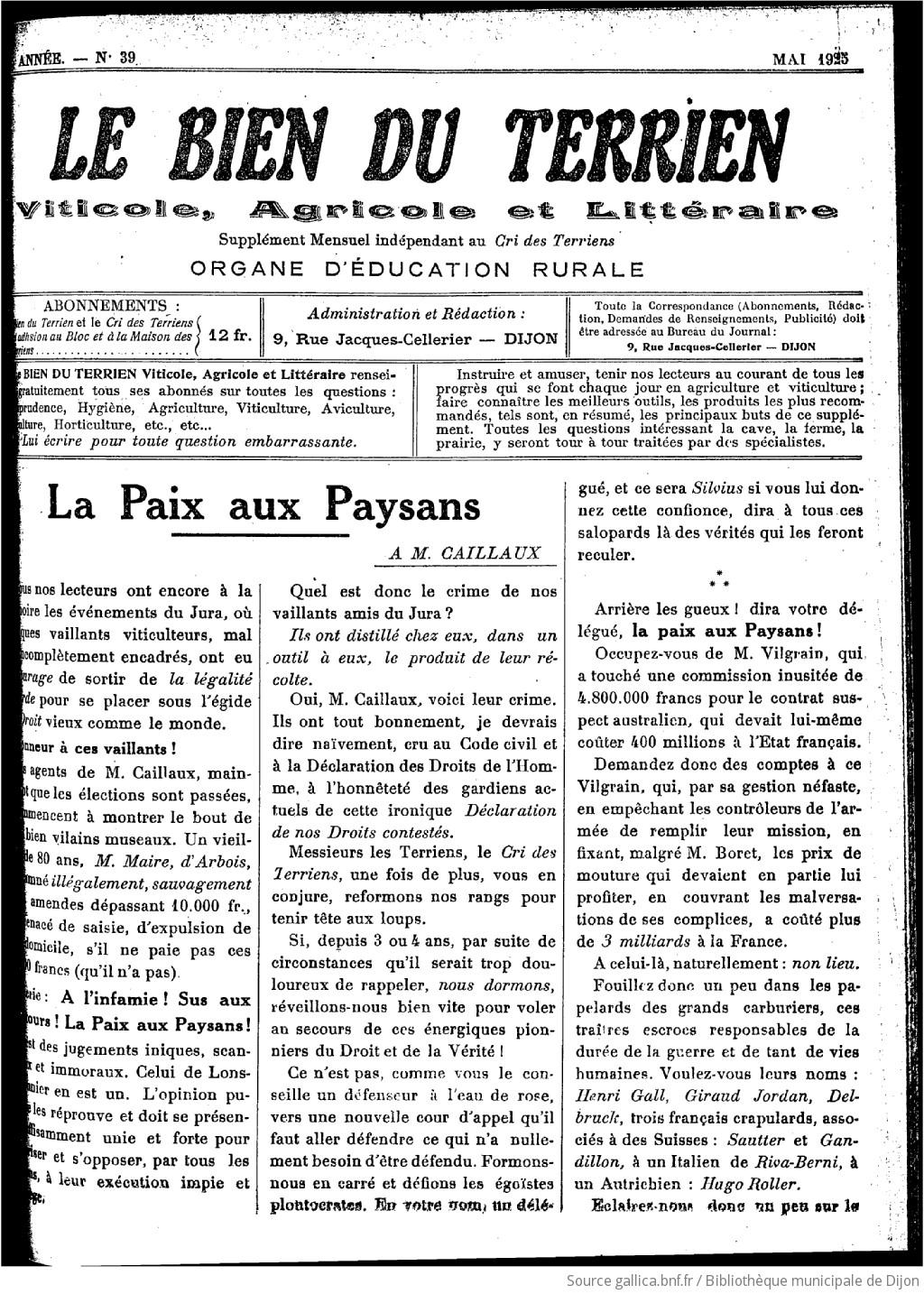 Le Bien du terrien : viticole, agricole et littéraire : supplément Le Bureau Viticole on
