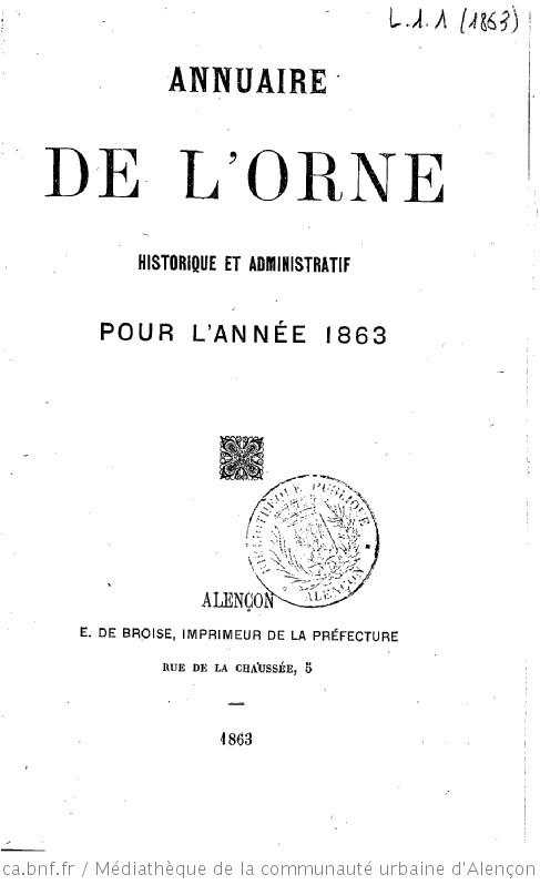 Annuaire de l'Orne, historique, administratif, industriel et commercial