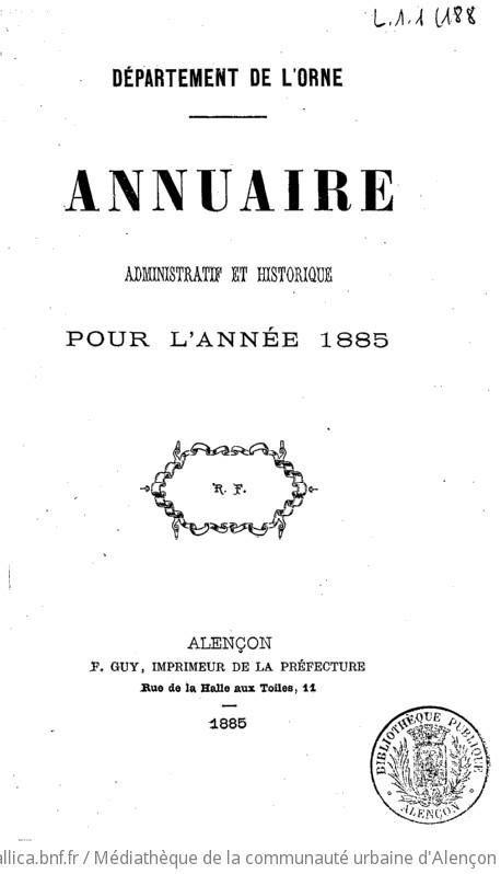 Annuaire administratif et historique / Département de l'Orne