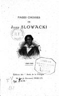 Pages choisies de Jules Słowacki. 1809-1849