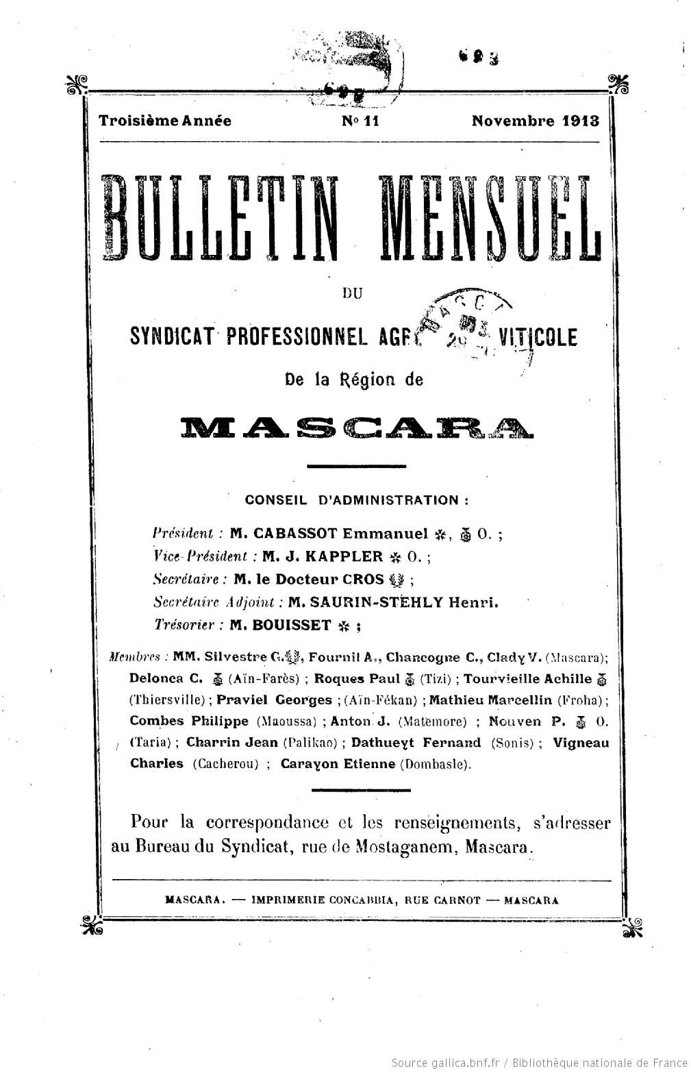 Bulletin uel du Syndicat professionnel agricole et viticole de ... on