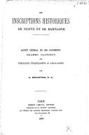 Les inscriptions historiques de Ninive et de Babylone: aspect général de ces documents, examen raisonné des versions françaises et anglaises  A.-J. Delattre. 1879
