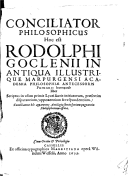 Image from Gallica about Rodolphus Goclenius (1547-1628)