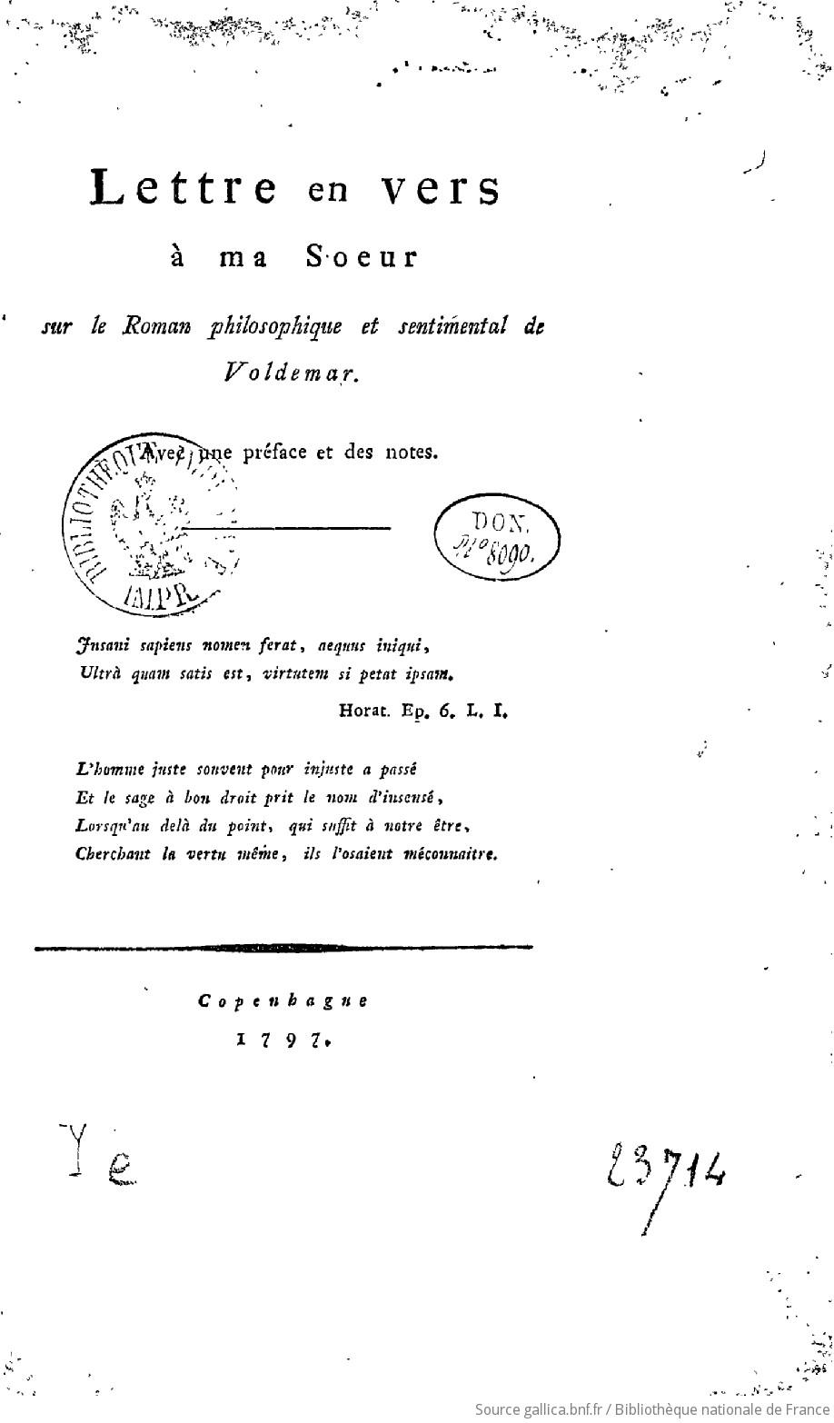 Lettre En Vers à Ma Soeur Sur Le Roman Philosophique Et