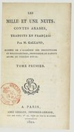 Les mille et une nuits, contes arabes, traduits en français par M. Galland  1822