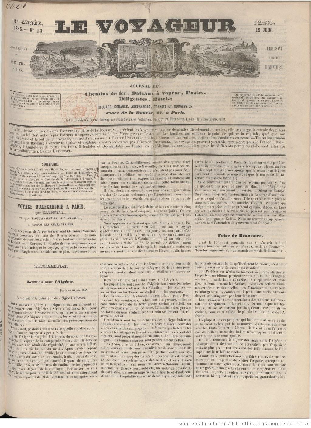 Le Voyageur Journal De L Office Universel De La Navigation Et Du Commerce Renseignements Sur La